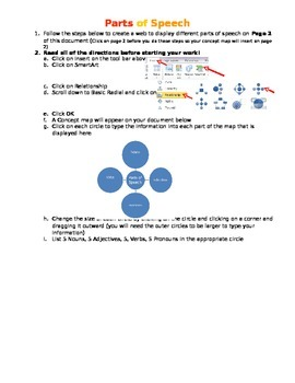 Concept mapping Parts of Speech in Word