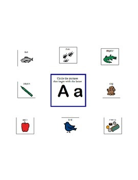 Concept of Beginning Sounds - Worksheets/Activity - AUTISM