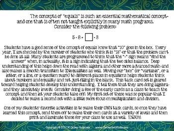 "Algebraic Thinking Task Card SET 2: Concept of ""Equals"" Grades 4 -5"