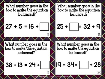 "Concept of ""Equals"" Algebraic Thinking Task Cards: Grades 3-5"