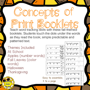 Concept of Print Booklets, Emergent Readers; School, Fall, Apples, & More