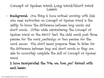 Concept of Spoken Word Lesson #1