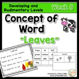 Concept of Word Intervention:  Week 8