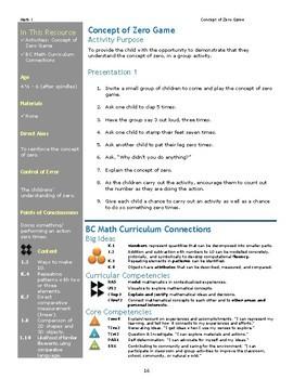 Concept of Zero Game Montessori Math Lesson Plan Numeration BC Curriculum