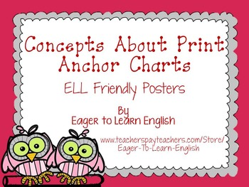 Concepts About Print Anchor Charts: ELL Friendly Posters