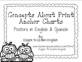BILINGUAL SET: Concepts About Print Anchor Charts (B&W Color Me! Edition)