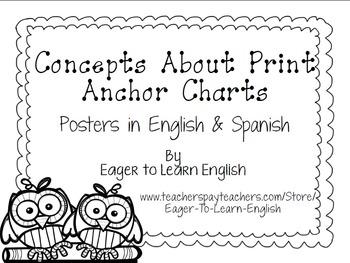 BILINGUAL SET: Concepts About Print Anchor Charts (B&W Color Me! Edition)