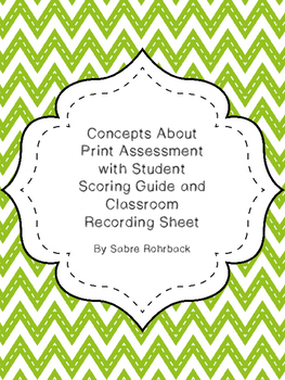 Concepts About Print Assessment, Student Scoring Guide & C