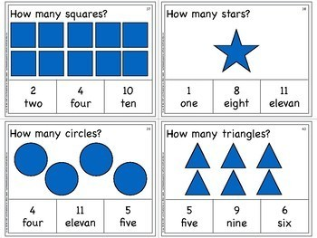Numbers, Shapes, Colors and Counting Task Cards