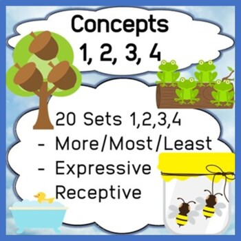 Concepts - Numbers 1, 2, 3, 4 & Most/Least - Expressive & Receptive