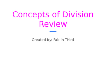 Concepts of Division Review Google Slides