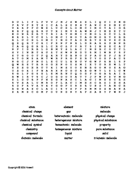 Concepts of Matter Vocabulary Word Search for General Chemistry