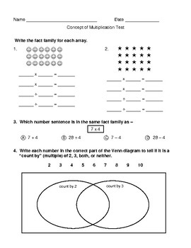 Concepts of Multiplication Test