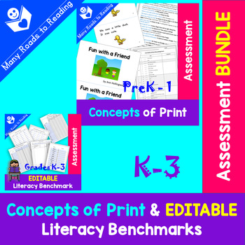 Concepts of Print & Editable Literacy Assessment BUNDLE PreK-3
