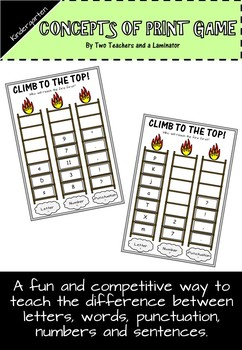 Concepts of Print Game (Letters, Numbers, Words, Sentences, Punctuation)