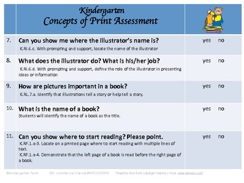 Concepts of Print Kindergarten Assessment