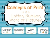 Concepts of Print: Letter, Number, Word or Picture?