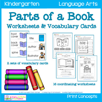 Parts of a Book - Worksheets & Vocabulary Cards