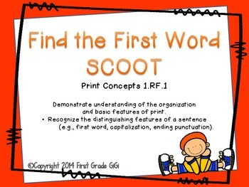 Concepts of Print SCOOT- find the first word of the sentence