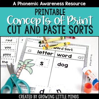 Concepts of Print and Print Awareness Printable Sorting Activities