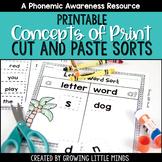 Concepts of Print and Print Awareness Printable Sorting Activities