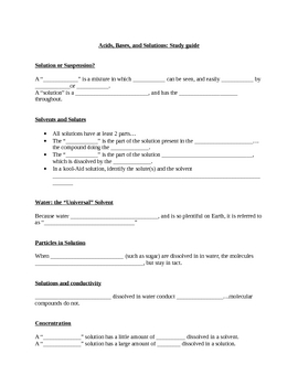 Conceptual Chemistry: Acids, Bases, and Solutions- Study guide