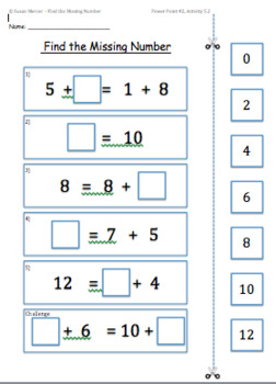 Conceptual Understanding of the Equal Sign (=) - Find the Missing Number