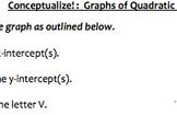 Conceptualize About Graphs of Quadratic Functions