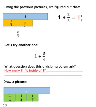 Conceptually Dividing Fractions - A workbook with diagrams