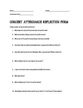 Concert Attendance Reflection Form