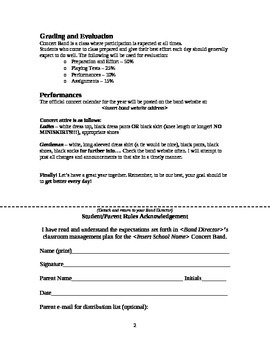 Concert Band - Classroom Management Plan - (Customizable