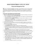 Concert Band - Classroom Management Plan - (Customizable