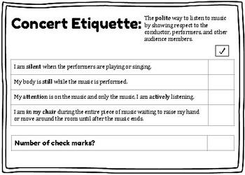 Concert Etiquette Self Check Rubric