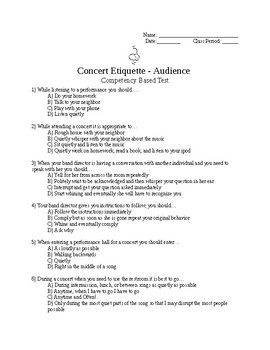 Concert Etiquette Test