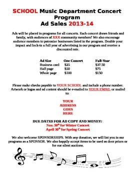 Concert Program Ad Sales Form