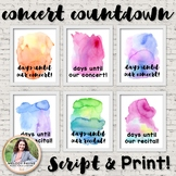 Concert & Recital Countdown Posters {Watercolor Music Decor}