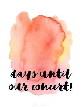 Concert & Recital Countdown Posters {Watercolor Music Decor}