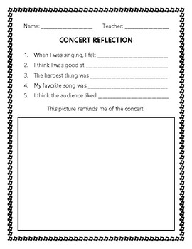 Concert Reflection Elementary Grades