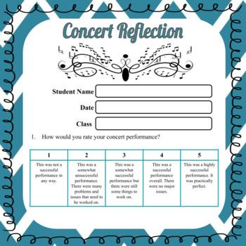 Concert Reflection Worksheet