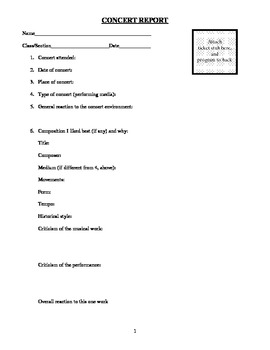 Concert Report Form