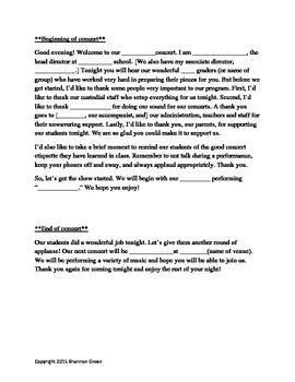 Concert Script