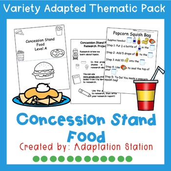 Concession Stand Food Adapted Thematic Pack