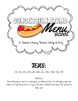 Concession Stand Menu Scoot - A Financial Literacy Problem