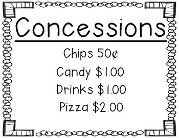 Concessions Sign - Perfect for Lock-ins, Sporting Events, etc.
