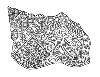 shelly beauchamp zen tangles coloring pages | Conch Shell Zentangle Coloring Page by Pamela Kennedy | TpT