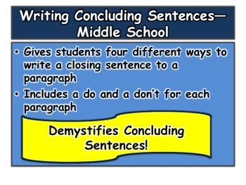 Concluding Sentences—Middle School