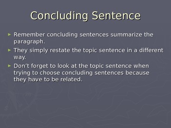 Concluding Sentences PowerPoint with answers