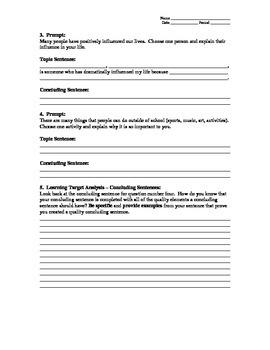Concluding Sentences Practice