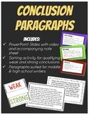 Conclusion Paragraph Notes & Activity Bundle
