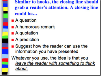 Conclusion Paragraphs Power Point: For struggling or beginning writers